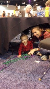 Goofing off with baby after my talk. Yes, we're playing under a table.