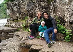 """Enjoying some post-marathon """"hiking"""" at Gooseberry Falls."""