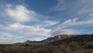 Winter light on the Sandia Mountains.